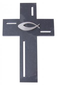 schieferkreuz mit fisch aus edelstahl bei kirchliche. Black Bedroom Furniture Sets. Home Design Ideas