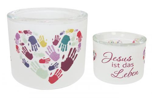 Windlicht - Jesus ist das Leben - Händeherz