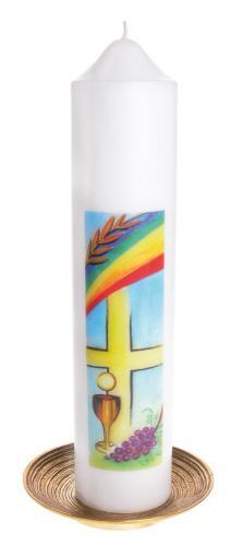 Kommunionkerze mit Siebdruckmotiv - Kreuz, Kelch & Regenbogen