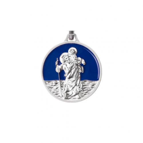 Schlüsselanhänger - Christophorus blau emailliert