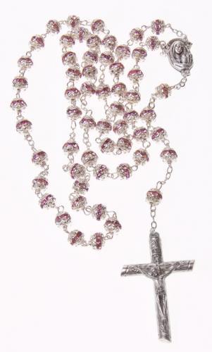 Rosenkranz - 46 cm mit versilberten Metallperlen