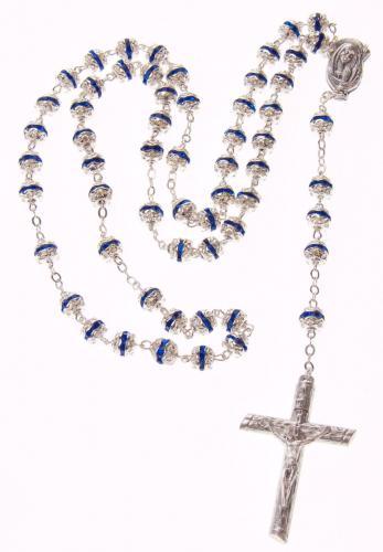 Rosenkranz - versilberte Metallperlen 46 cm blau/silber