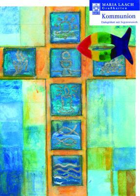 Fisch bunt mit Grußkarte Kreuz mit Kommunionsymbolen