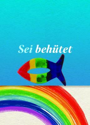 Fisch bunt auf Minicard Regenbogen Motiv