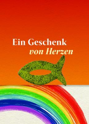 Fisch grün auf Minicard rot