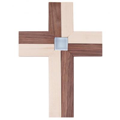 Ahorn/ Nussbaum Kreuz mit Glasnugget-Einlage
