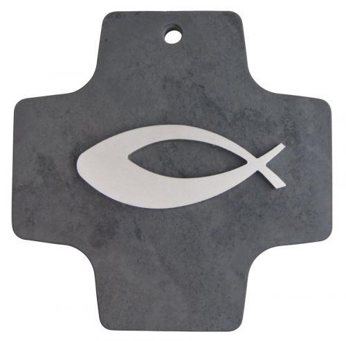 Schieferkreuz mit Edelstahlfisch Auflage