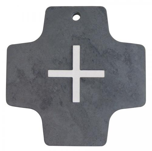Schieferkreuz mit Edelstahlkreuz Auflage