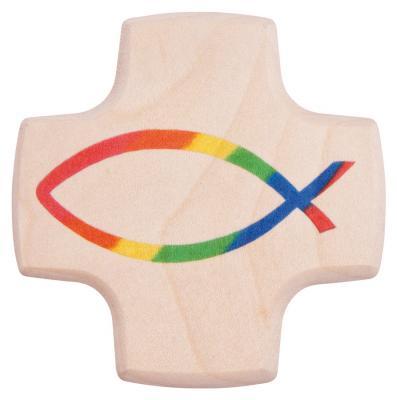 Kinderkreuz klein - mit Regenbogenfisch
