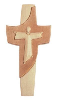 modernes Ahornkreuz mit Jesus mehrfach gebeizt