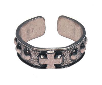 Gebetsring - Metall mit Kreuz und Nieten