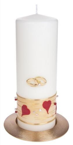 Tischhochzeitskerze: Goldband-Herzen rot- mit Ringen