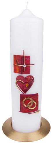Tischhochzeitskerze - rot Kreuz,Ringe,Herz