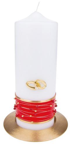 Tischhochzeitskerze: Perlenband rot - mit Ringen