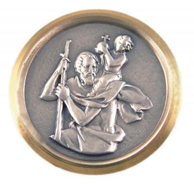 Christophorus-Plakette - Goldrand mit Glanz