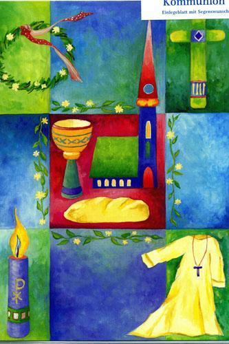 Kommunionkarte - bunt, Brot, Kirche, Kelch