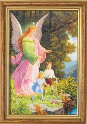 Engelbild - rosa mit zwei Kindern