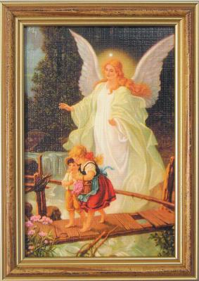Engelbild mit zwei Kindern auf Brücke