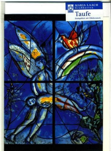 Karte zur Taufe - tragender Engel & Taube