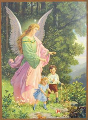 Engelbild mit Kindern - auf Holzplatte