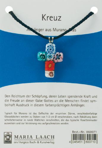 Halsanhännger - Kreuz mehrfarbig Muranoglas