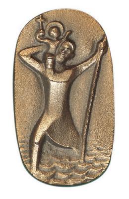 Christophorus Autoplakette - bronze/ silberbronze