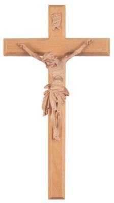 Holzkreuz mit Kunstharzkörper - schlicht Korpus naturfarbend