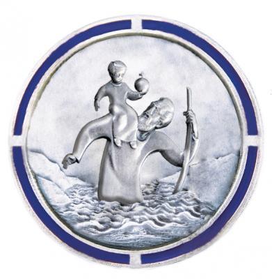 Christophorus-Plakette - Rand blau