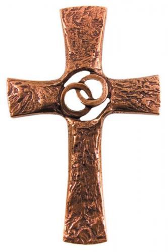 Hochzeitskreuz - Bronzekreuz Ehe Ringe