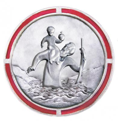 Christophorus-Plakette - Rand rot