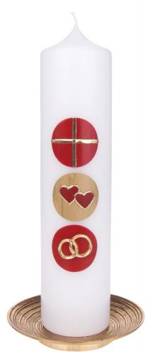 Hochzeitskerze - Kreise rot, gold