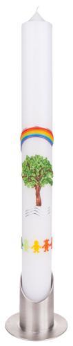 Taufkerze - Lebensbaum grün mit Regenbogen