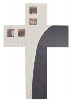 Schieferkreuz Einlage Stein