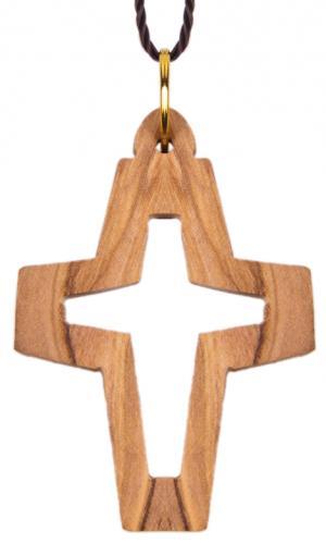 Olivenholzkreuz am Band - Kreuz in Kreuz