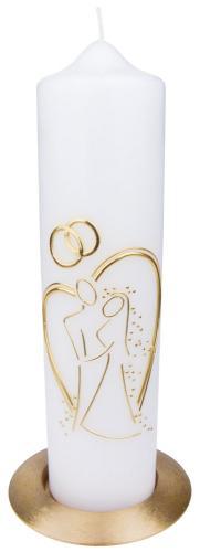 Hochzeitskerze - Brautpaar im Herz Gold