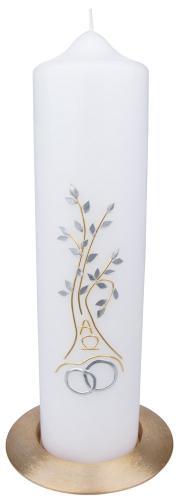 Hochzeitskerze - Lebensbaum Gold-Silber