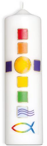 Kommunionkerze - Mosaik-Regenbogenkreuz