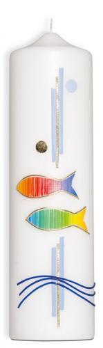 Kommunionkerze - Regenbogen/Fische/Wellen