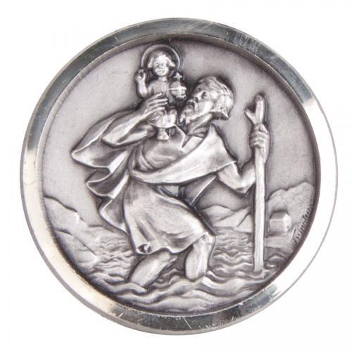 Christophorus Medaille - Holz und Metall
