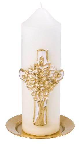 Lebensbaumkerze - weiß & gold
