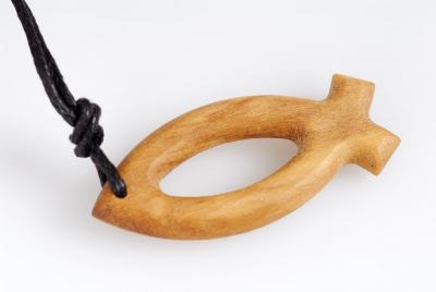 Halskette - Olivenholz Fisch