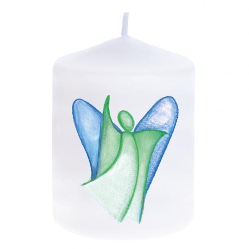 Kerze - Engel grün/blau