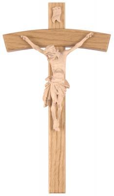 Kreuz gebogen mit Christuskörper - naturfarbend