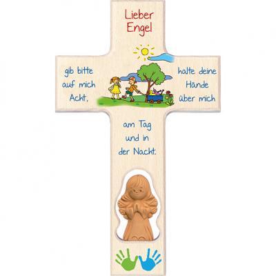 Kinderkreuz mit Tonengel - Lieber Engel
