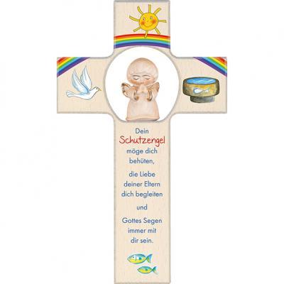 Kinderkreuz mit Tonengel - Dein Schutzengel möge dich