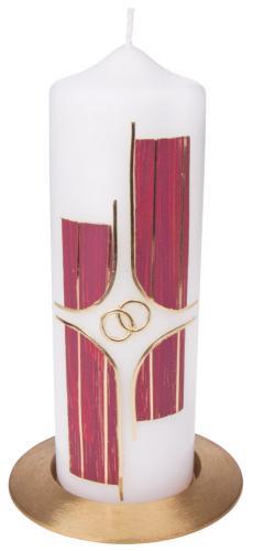Hochzeitskerze - rot mit Ringen