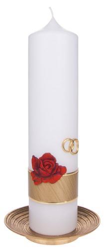 Hochzeitskerze - Ringe und Rose