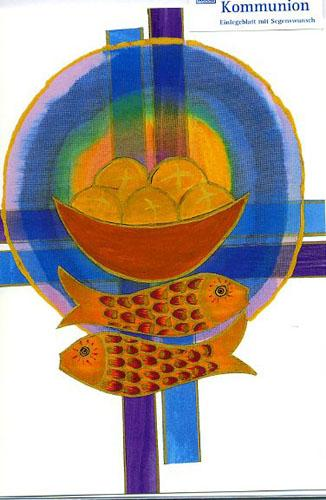 Kommunionkarte - Brot - Fische - Kreuze | bei Kirchliche