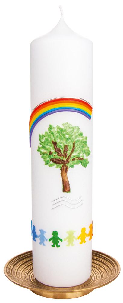 stumpen taufkerze lebensbaum mit regenbogen bei. Black Bedroom Furniture Sets. Home Design Ideas