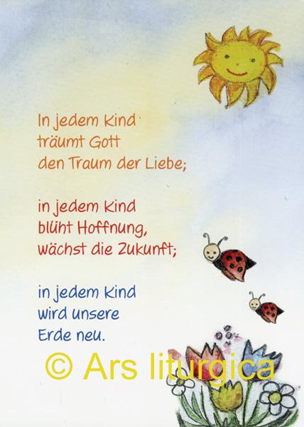 Taufkarte In Jedem Kind Träumt Gott Den Traum Der Liebe Bei